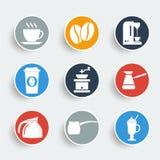 Icônes de café Photographie stock libre de droits