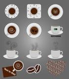 Icônes de café Photo stock