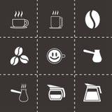 Icônes de café noir de vecteur réglées Photos stock