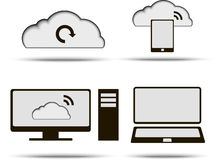 Icônes de calcul de nuage réglées Photo stock