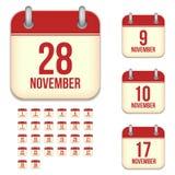 Icônes de calendrier de vecteur de novembre Photo libre de droits