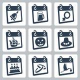 Icônes de calendrier de vecteur représentant des vacances illustration stock