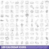 100 icônes de calendrier réglées, style d'ensemble illustration de vecteur