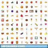 100 icônes de calories réglées, style de bande dessinée Images libres de droits