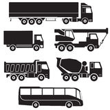 Icônes de camion réglées Collection de vecteur de véhicules Image stock