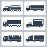 Icônes de camions de vecteur réglées, vue de côté Photographie stock