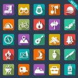Icônes de camping Photographie stock