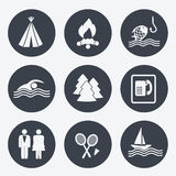 Icônes de camping - boutons circulaires, ensemble 2 Image stock