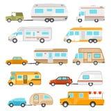 Icônes de camping-car réglées illustration de vecteur