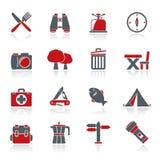 Icônes de camping, de tourisme et de voyage Photographie stock