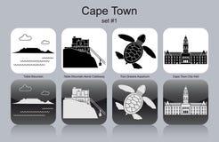 Icônes de Cape Town illustration stock