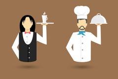 Icônes de caractère de profession Serveur, chef Illustration de vecteur Images libres de droits