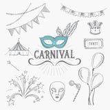 Icônes de carnaval, conception de croquis Images libres de droits