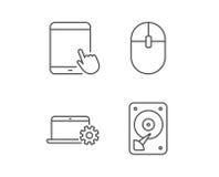 Icônes de carnet, de lecteur de disque dur et de tablette illustration stock