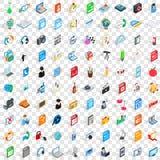 100 icônes de carnet réglées, style 3d isométrique Images libres de droits