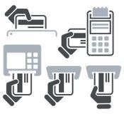 Icônes de carte de crédit d'atmosphère, de Position-terminal et de main Photographie stock
