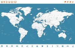 Icônes de carte et de navigation du monde de bleu en acier - illustration Image libre de droits