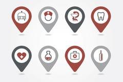 Icônes de cartographie médicales de goupilles Image libre de droits