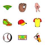 Icônes de casquette de baseball réglées, style de bande dessinée Images stock