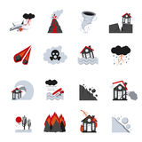 Icônes de catastrophes naturelles réglées Images libres de droits