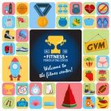 Icônes de centre de fitness Photographie stock libre de droits