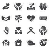 Icônes de charité et d'amour Image stock
