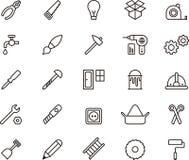 Icônes de charpentier et d'outils Photos stock