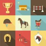 Icônes de cheval et de dressage illustration libre de droits