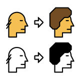 Icônes de cheveux de croissance avant et après illustration stock
