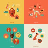 Icônes de chien plates Images stock