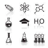 Icônes de chimie pour l'étude et les applications Web Photo stock