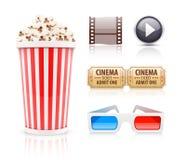 Icônes de cinéma et de film réglées Images stock