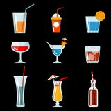 Icônes de cocktail de vecteur Image libre de droits