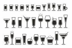 Icônes de cocktails Image stock