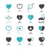 Icônes de coeur avec la réflexion illustration stock