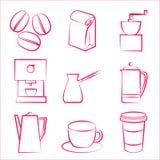 Icônes de Coffe Photo stock