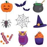 Icônes de collection d'article de Halloween Photo stock