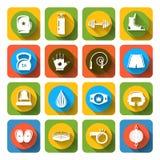 Icônes de combat de boîte plates Images libres de droits