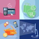 Icônes de commerce électronique d'achats d'Internet encaissant des paiements mobiles réglés Images libres de droits