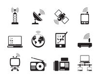 Icônes de communication et de technologie de silhouette Photos libres de droits