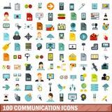 100 icônes de communication réglées, style plat illustration de vecteur
