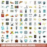 100 icônes de compétence d'ingénierie réglées, style plat illustration libre de droits