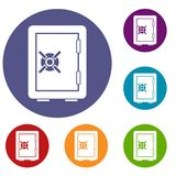 Icônes de compartiment de coffre-fort réglées illustration stock