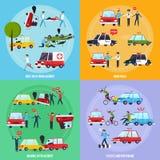 Icônes de concept d'accident de la route réglées Image libre de droits
