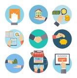 Icônes de concept d'affaires Photographie stock libre de droits