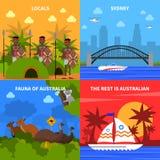 Icônes de concept d'Australie réglées illustration stock