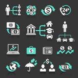 Icônes de concept d'opérations bancaires d'affaires réglées Images stock