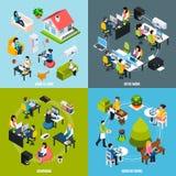 Icônes de concept de Coworking réglées Images stock