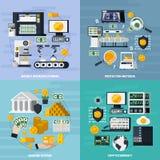 Icônes de concept de fabrication d'argent réglées illustration stock