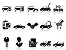 Icônes de concessionnaire automobile réglées Photos stock